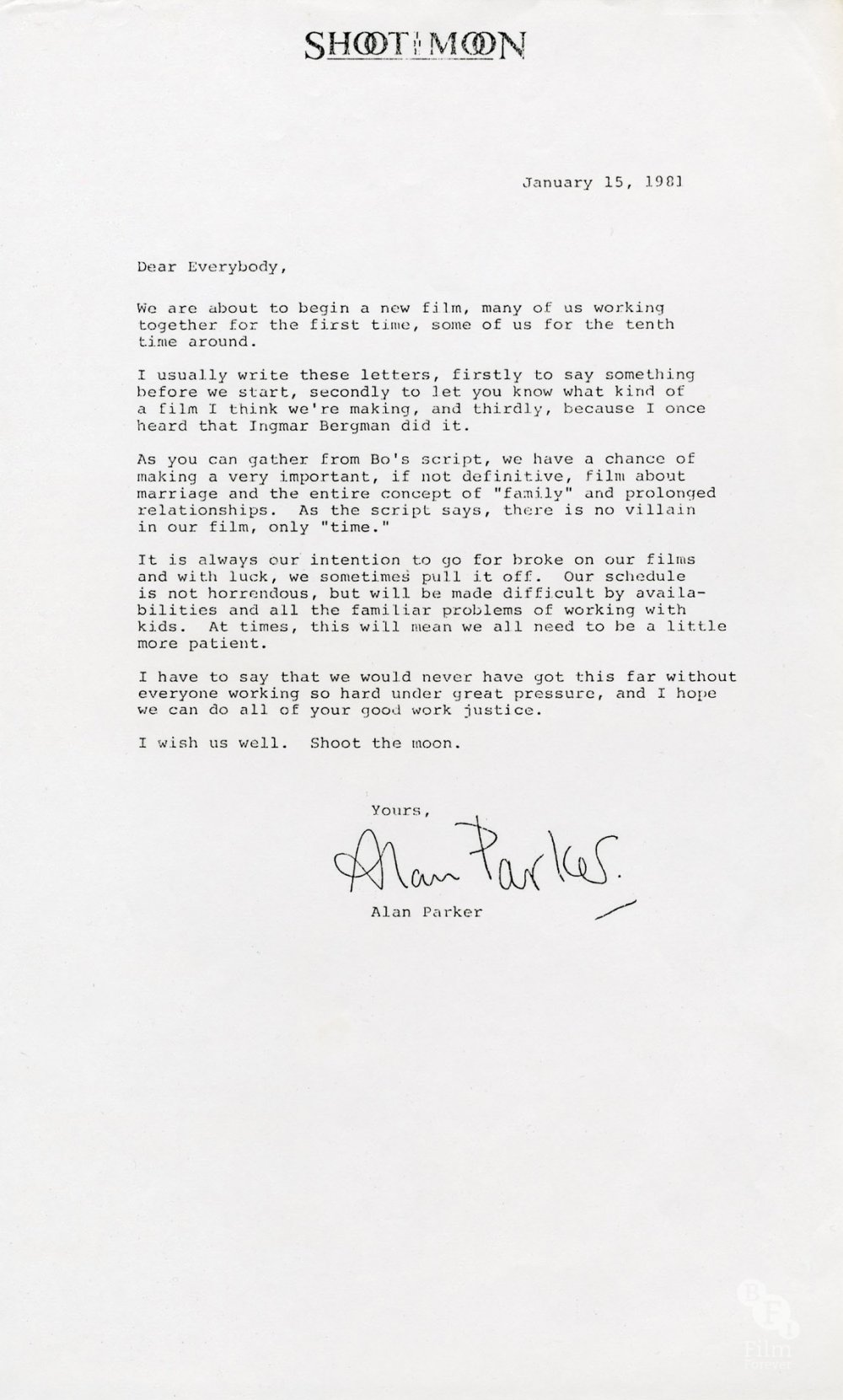 Alan Parker's letter to the crew of Shoot the Moon (1982)