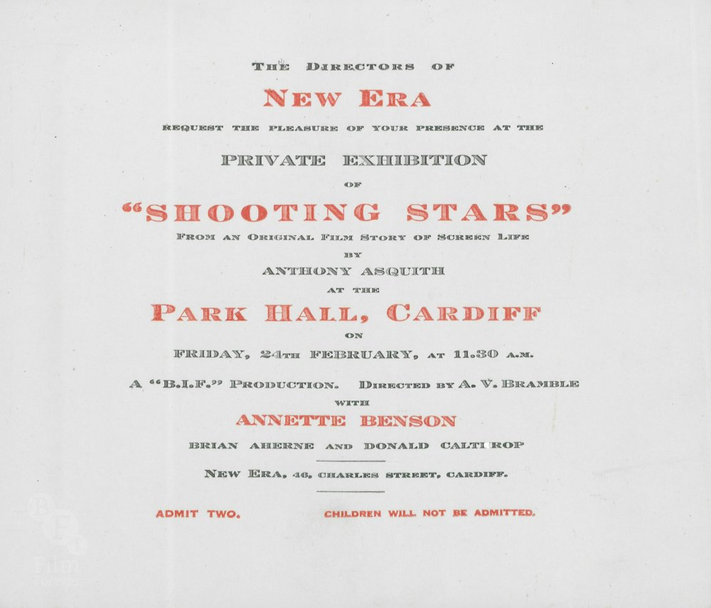 Original invitation to a Shooting Stars screening at Park Hall, Cardiff