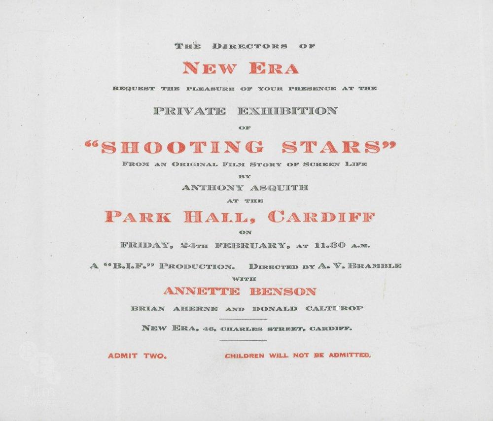 Original invitation to a Shooting Stars screening at Park Hall, Cardiff