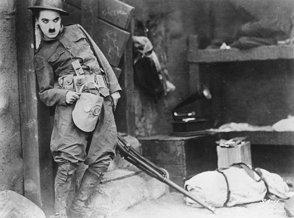 Charlie Chaplin in Shoulder Arms (1918). Chaplin didn't serve in the Great War, but his comedies were regarded as a tonic by recuperating troops