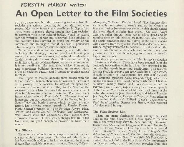 An Open Letter to the Film Societies, from the Summer 1941 issue of Sight & Sound