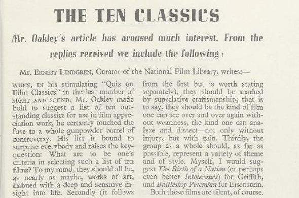 Ernest Lindgren's reply in the Spring 1942 issue of Sight & Sound