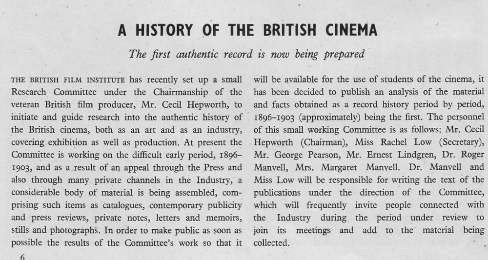 Notice in Sight & Sound, spring 1946, announcing the History of the British Cinema project