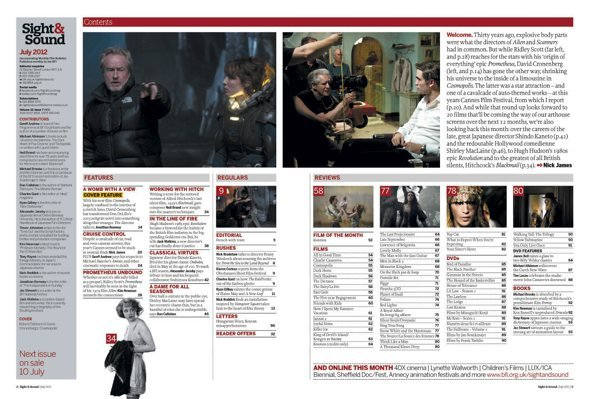Sight & Sound July 2012 issue contents page