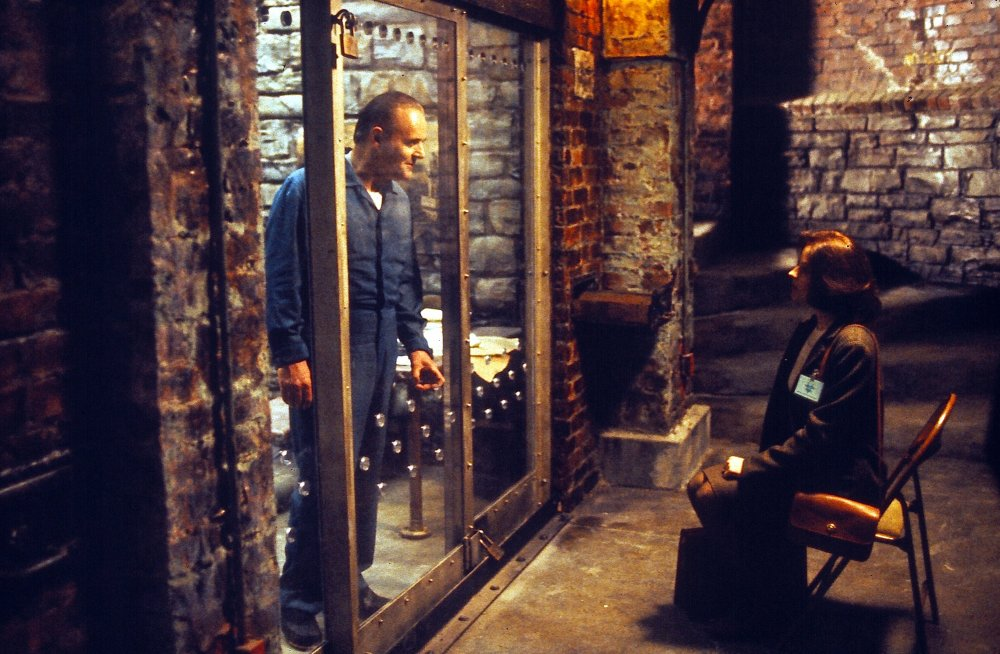 Anthony Hopkins and Jodie Foster in Jonathan Demme's The Silence of the Lambs (1990)