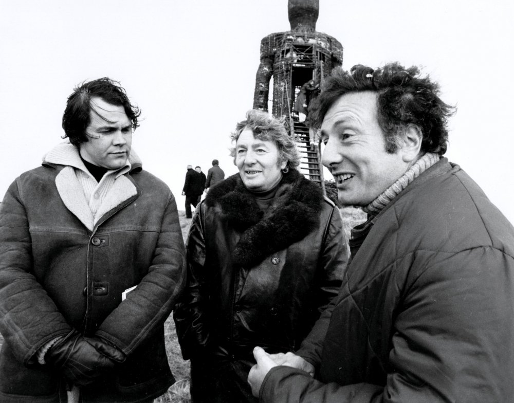 Producer Peter Snell, Anthony Shaffer and Robin Hardy on location with The Wicker Man (1973)