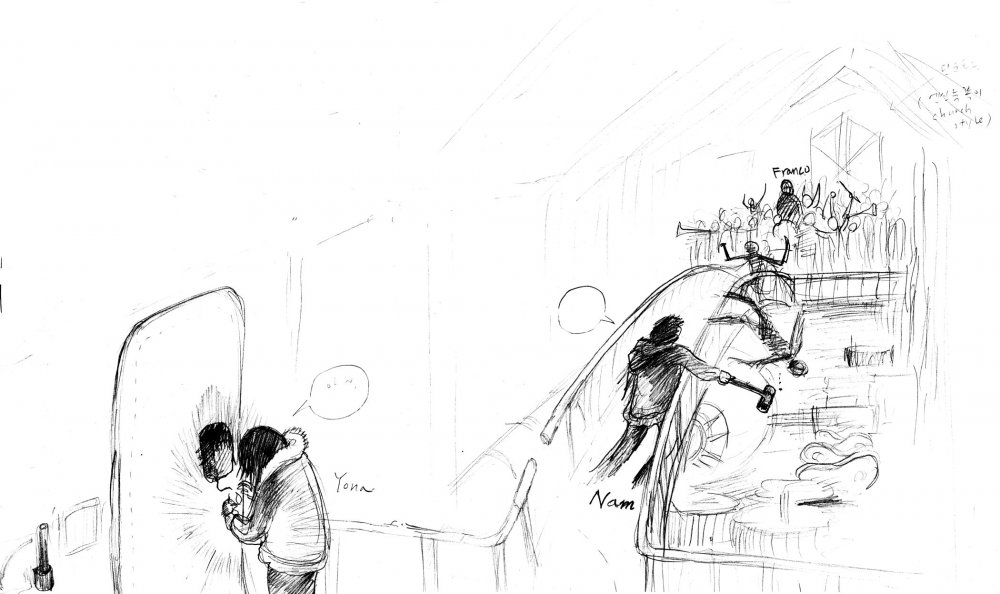 An early concept sketch by Bong for a scene from Snowpiercer, reproduced with permission of the director.