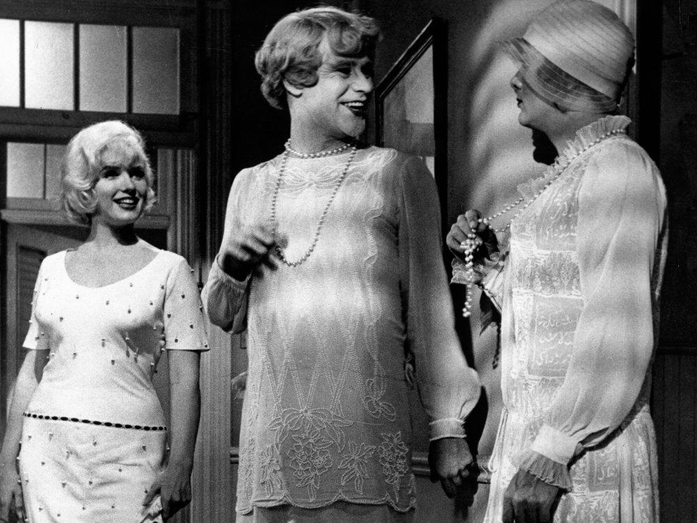 Marilyn Monroe as Sugar Kane, Jack Lemmon as Jerry aka 'Daphne' and Tony Curtis as Joe aka 'Josephine' in Some Like It Hot