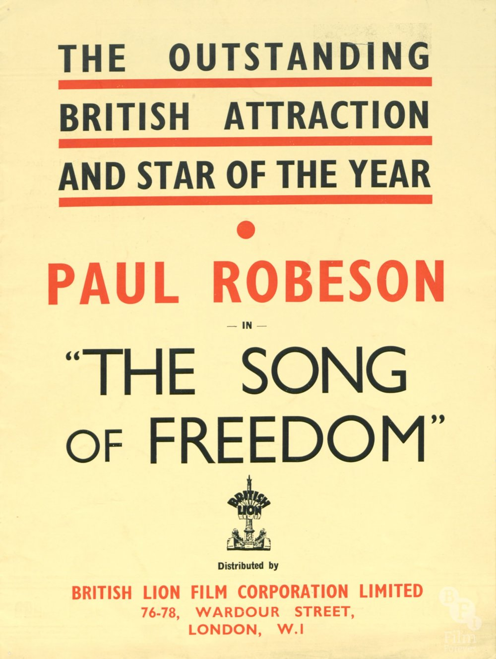 Song of Freedom (1936) pressbook