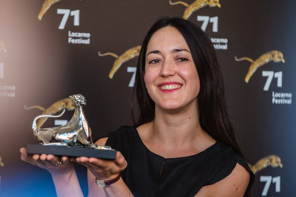 Dominga Sotomayor with her 2018 Silver Leopard award from the Locarno Film Festival for Too Late to Die Young