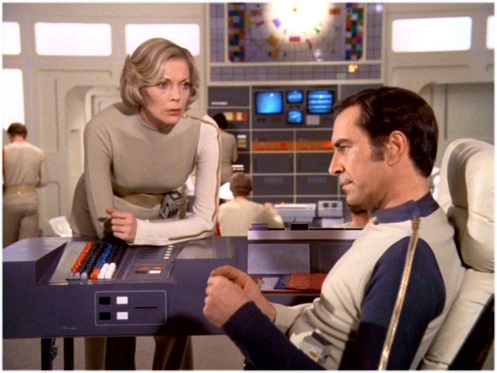 With Barbara Bain in the British sci-fi series Space: 1999 (1975-77)