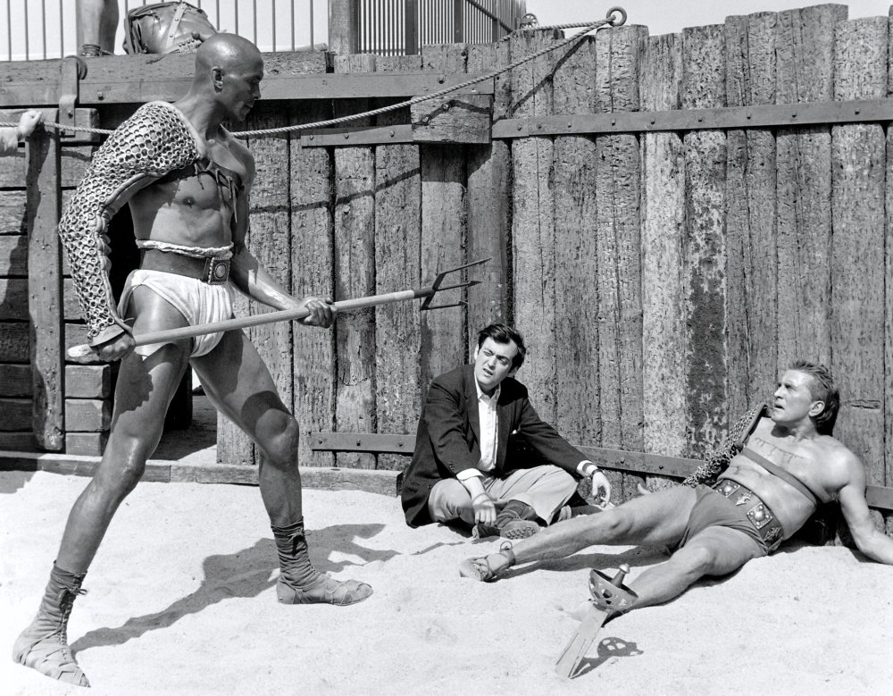 Director Stanley Kubrick with Woody Strode and Kirk Douglas filming Spartacus (1960)