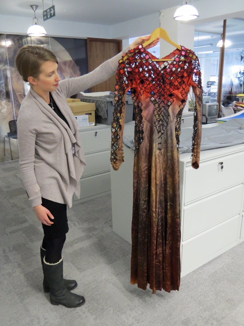 The dress worn by Morgana (Helen Mirren) in Excalibur, designed by Bob Ringwood – on loan from Katrine Boorman