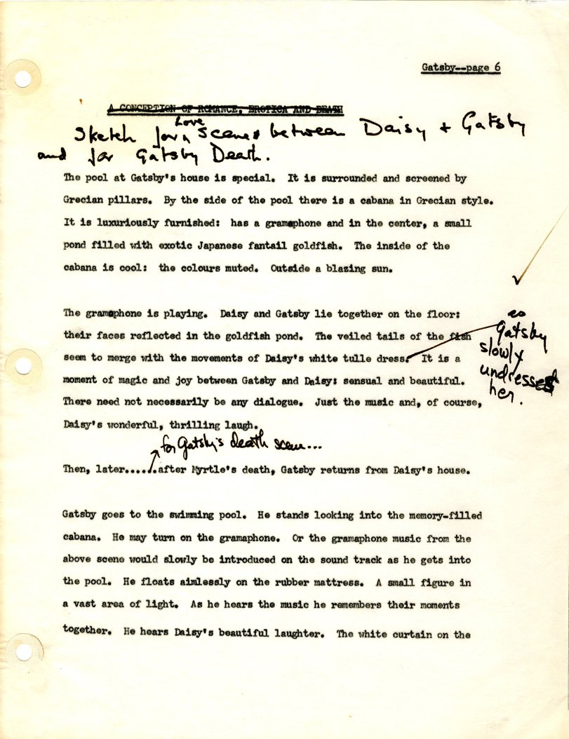 Jack Clayton's annotated typescript notes and suggestions for a love scene and the finale, undated c. 1972