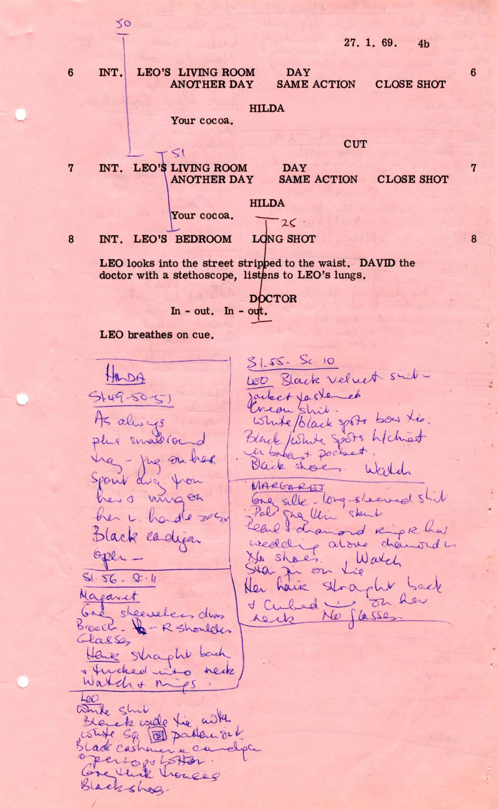 Script page from Leo the Last (1969)