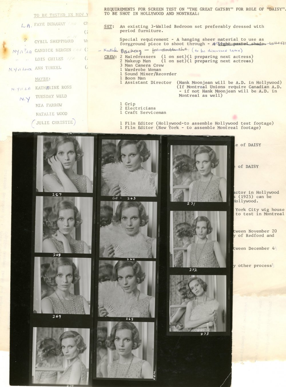 Casting schedule for the role of Daisy and contact prints of Mia Farrow