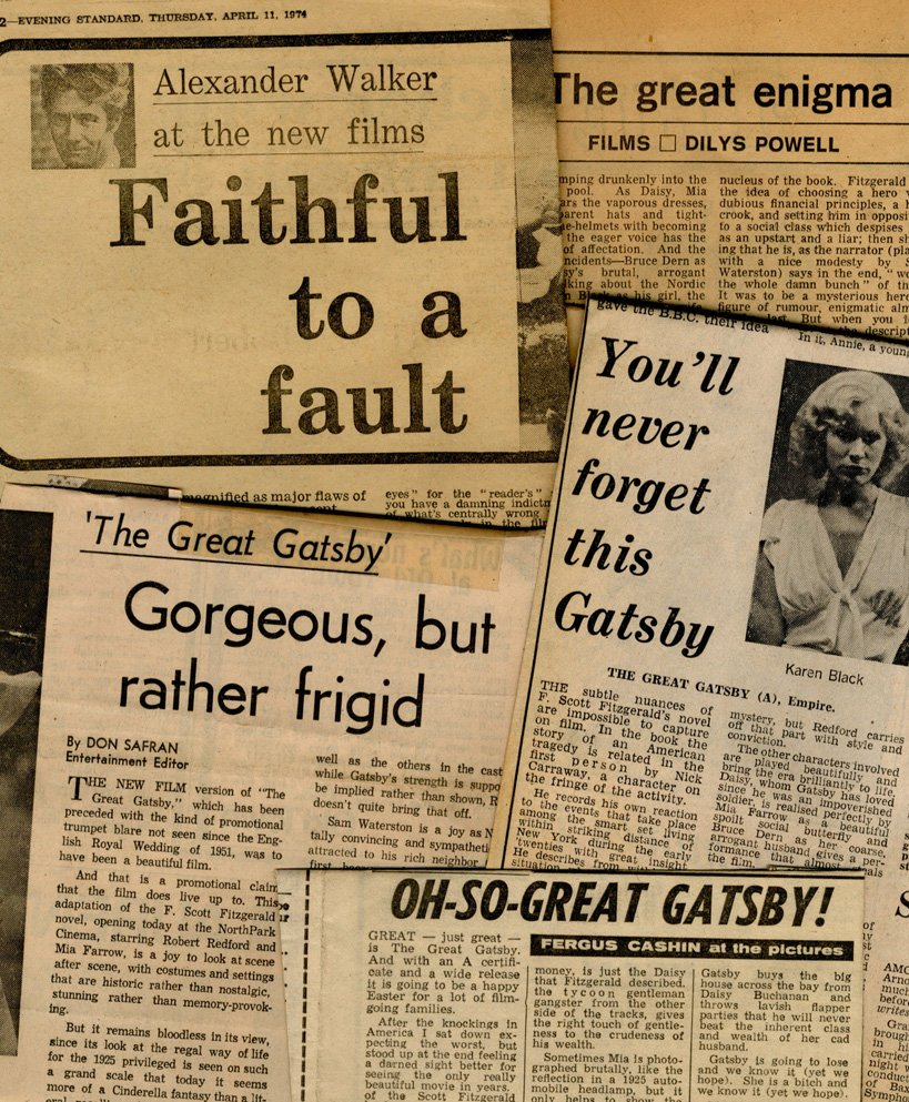 Press cuttings showing mixed reactions to the film in 1974