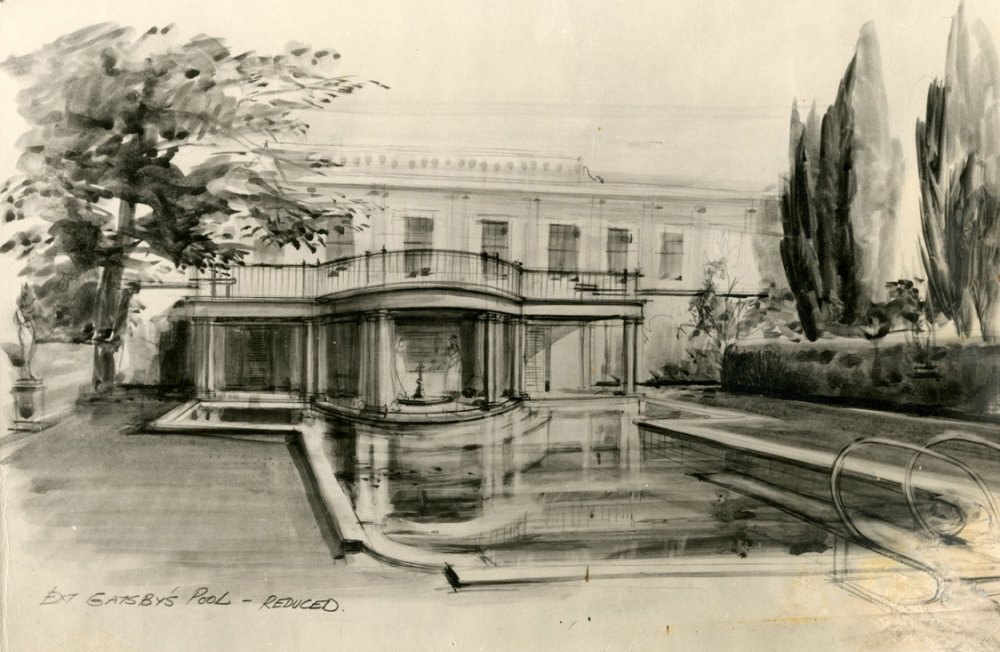 John Box production sketch for the pool at Gatsby's mansion, c.1972