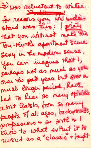 Extract from 10-page letter to Jack Clayton from Francis 'Scottie' Smith, daughter of F. Scott Fitzgerald, undated c.1974