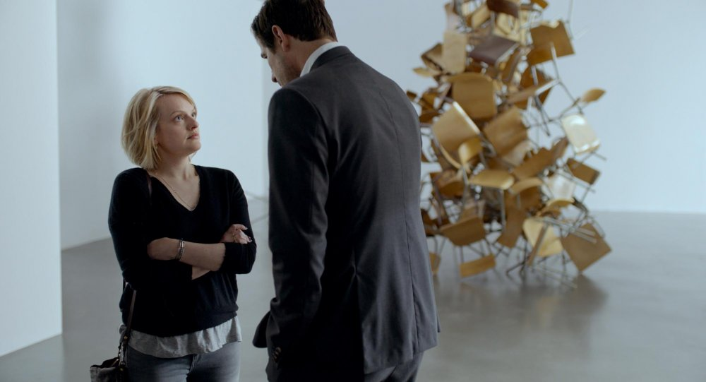 Elisabeth Moss as Anne and Claes Bang as Christian Nielsen in The Square
