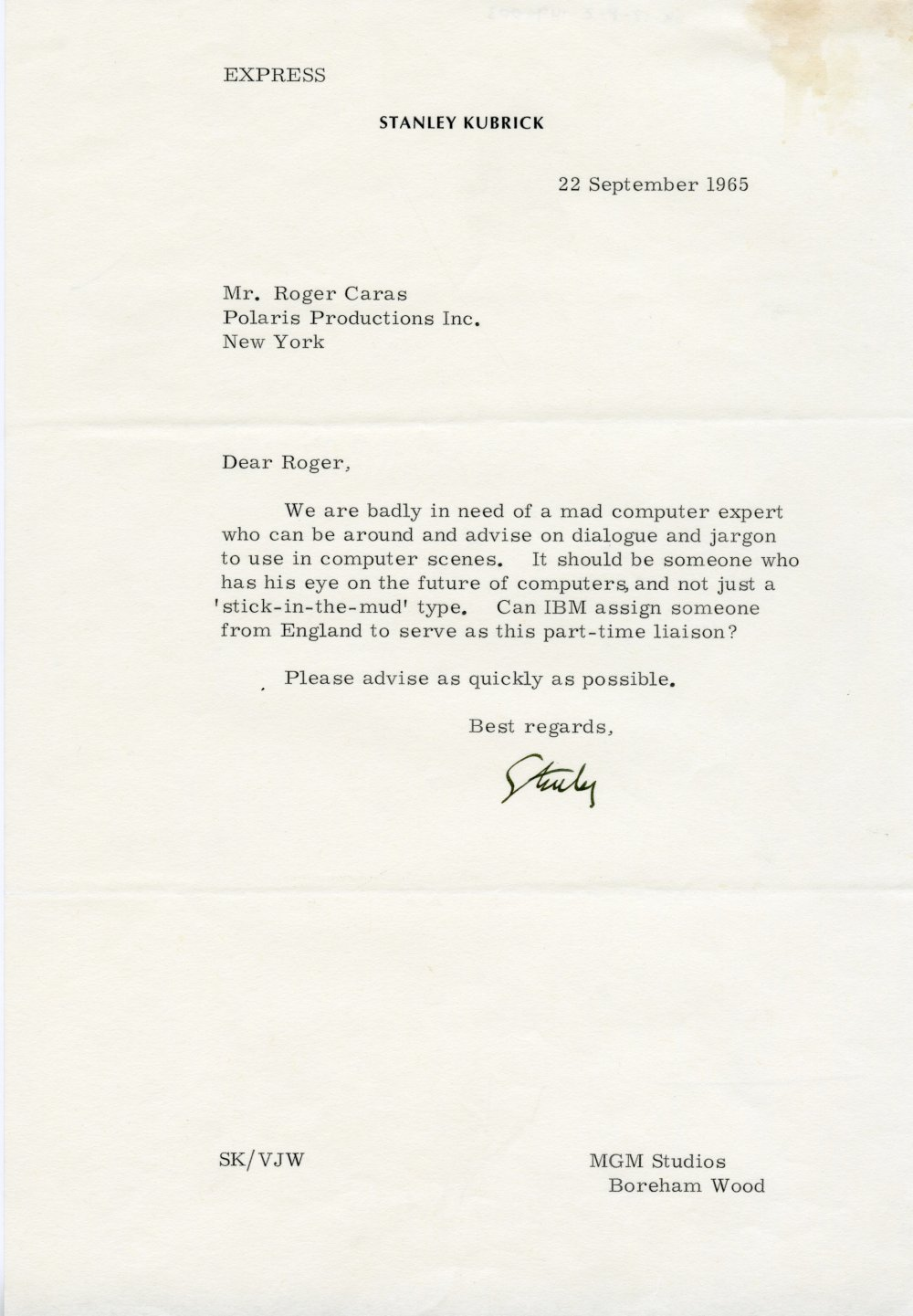 Memo to Roger Caras from Stanley Kubrick