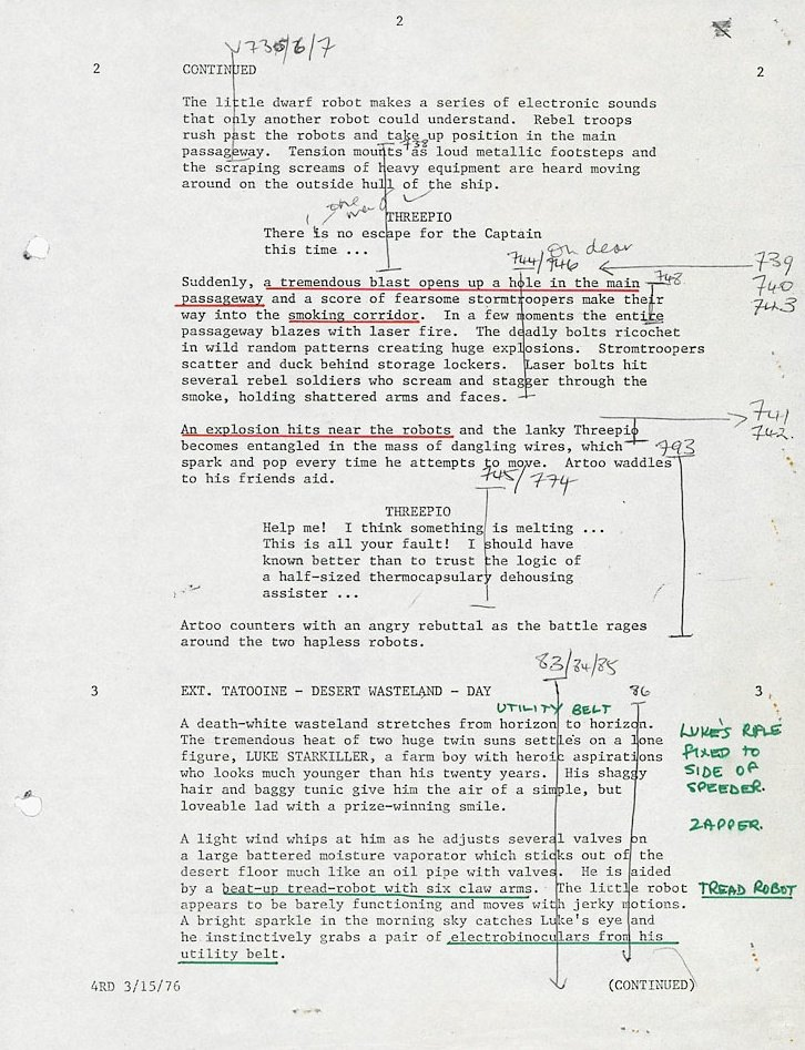 Script page from the opening scenes of Star Wars (1977)