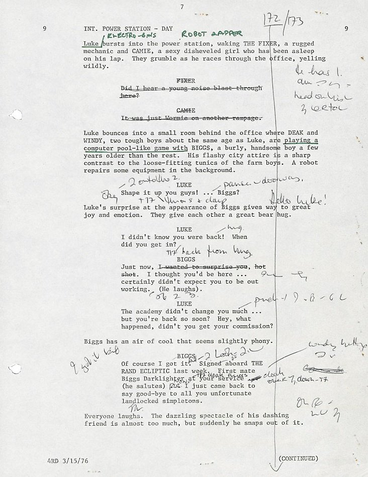 on the set of star wars episode iv a new hope bfi script page from star wars 1977 annotations by ann skinner