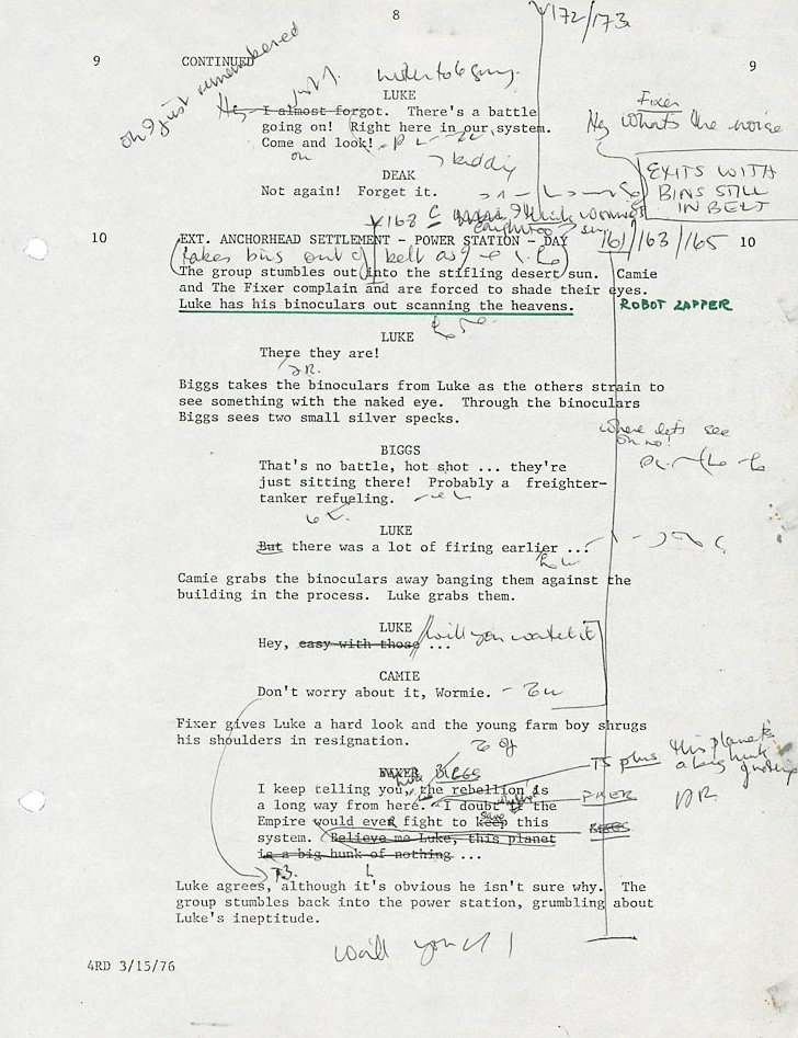 Script page from Star Wars (1977) with annotations by Ann Skinner