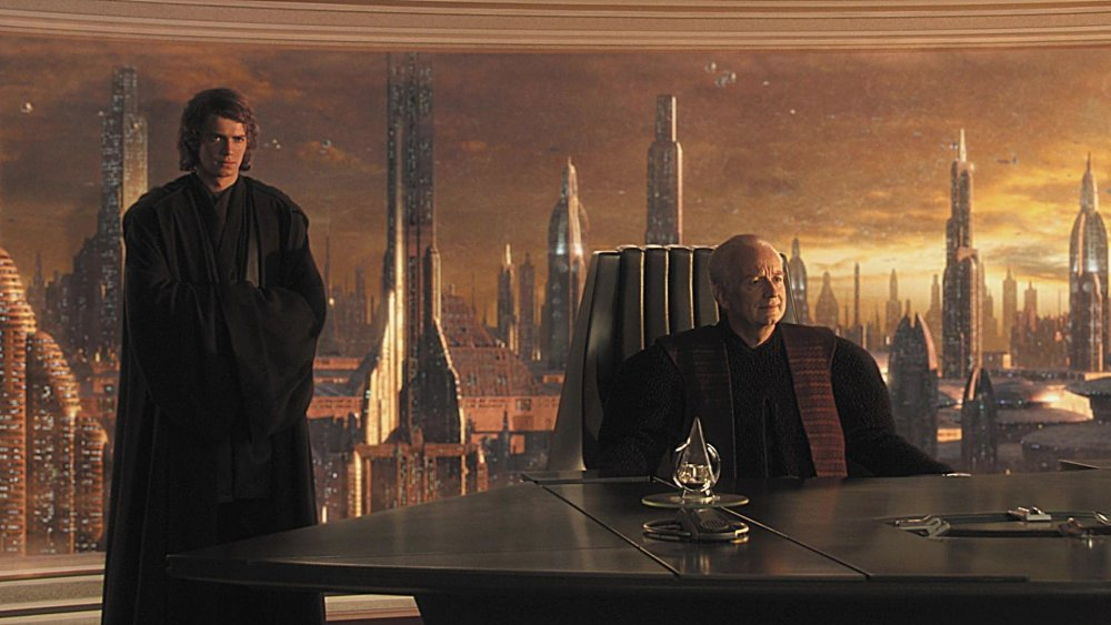 Hayden Christensen as Anakin Skywalker and Ian McDiarmid as Chancellor Palpatine in Star Wars: Episode III – Revenge of the Sith