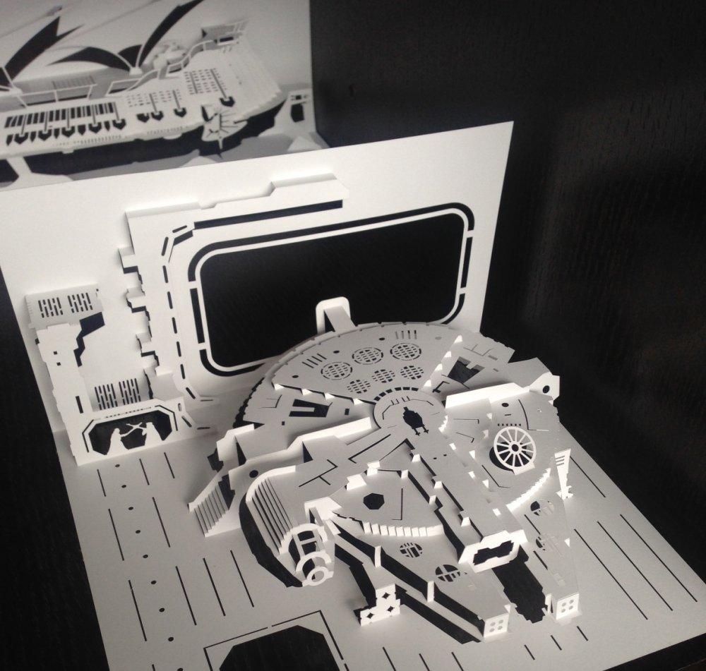 Star Wars kirigami model: The Millennium Falcon