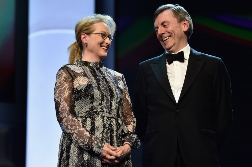 Meryl Streep and Nick James at the 2016 Berlinale prize-giving