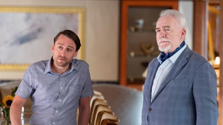 Kieran Culkin as Roman Roy with Brian Cox