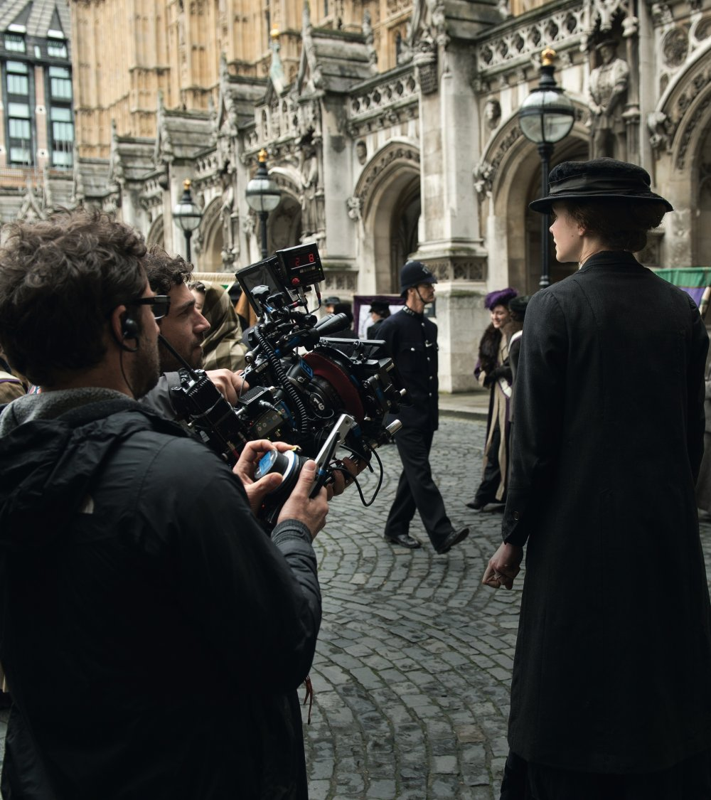 Carey Mulligan on the set of Suffragette, House of Commons, Westminster, London