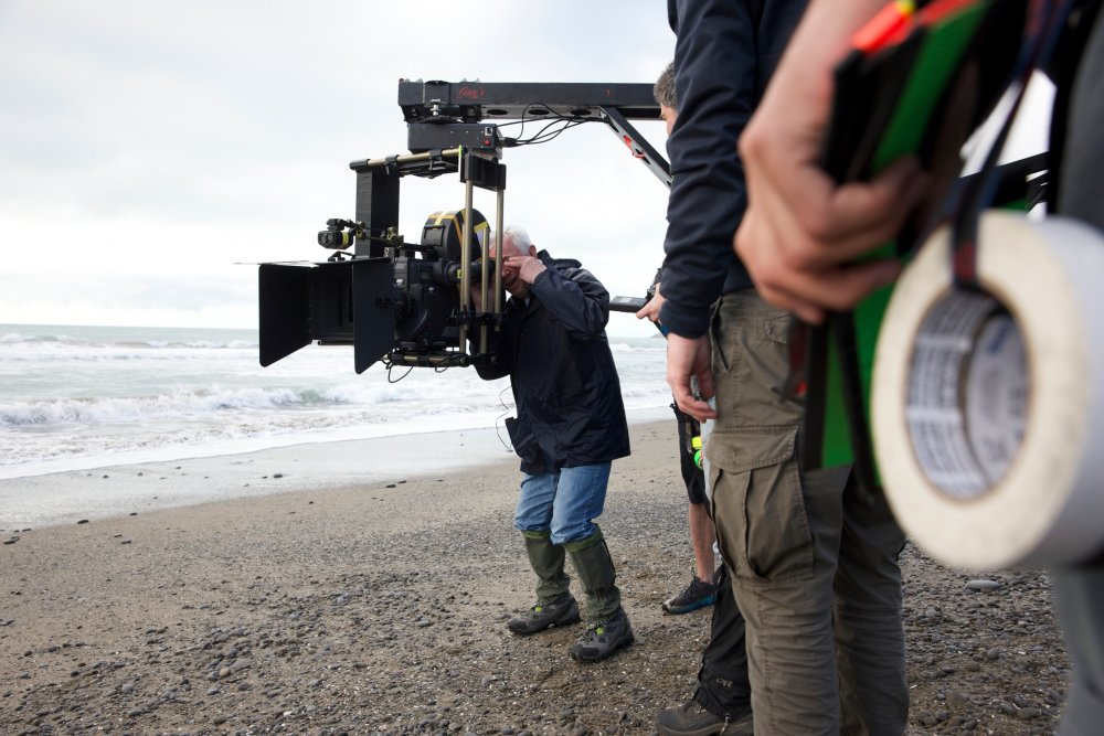 Terence Davies eyes up a shot through the 65mm lens