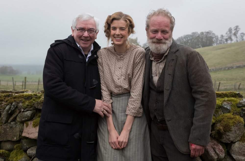 Terence Davies with stars Agyness Deyn and Peter Mullan. Deyn plays Chris Guthrie, a young woman living in rural, early 20th century Scotland with her abusive father (Peter Mullan)
