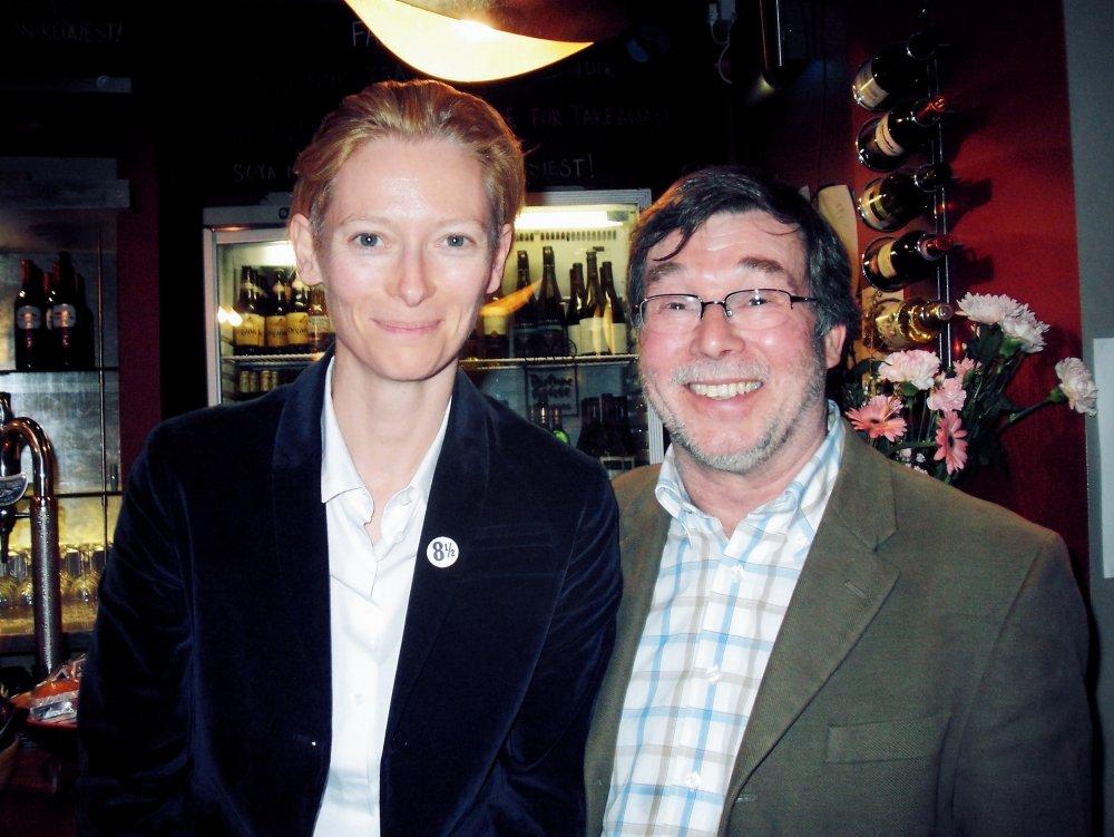 Tilda Swinton and Tony Jones at the Cambridge Film Festival