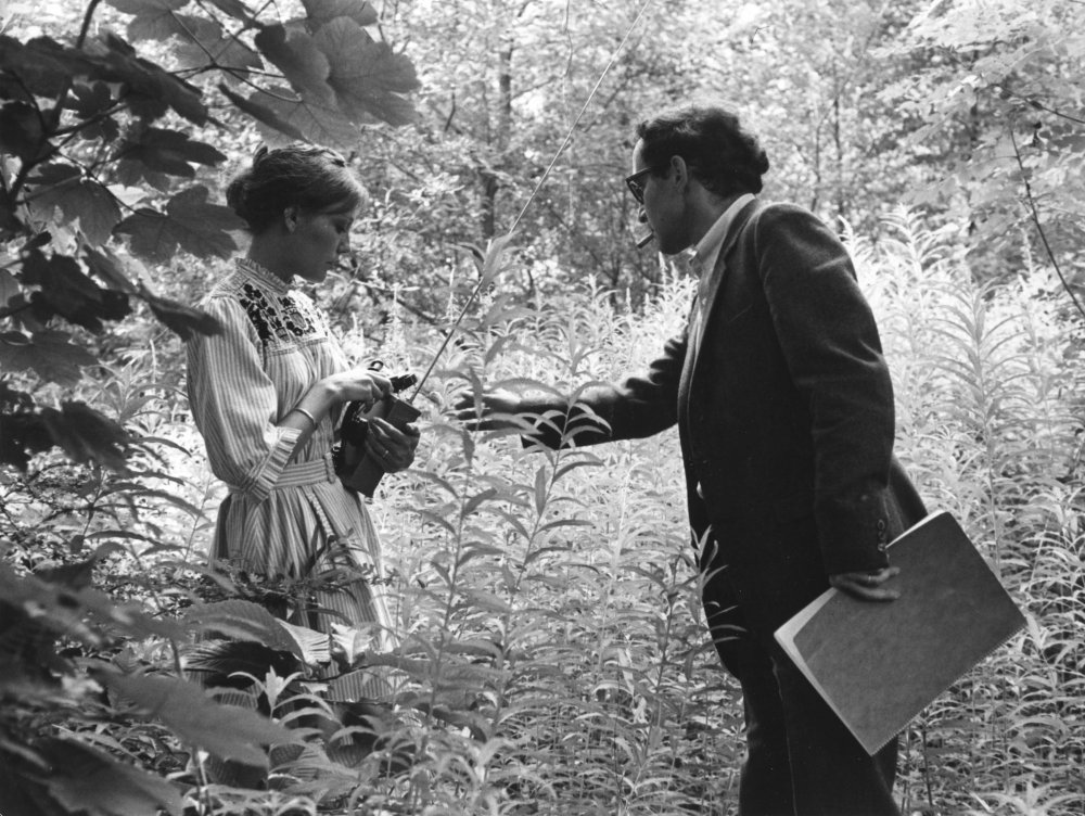 In Sympathy for the Devil, Wiazemsky plays a character called Eve Democracy. In her main sequence, aside from scrawling graffiti on various walls and cars in west London, she is interviewed in character by a film crew in a forest. Asked what her role was in the film by the magazine Vertigo, Godard said: 'Because she said her name is Eve Democracy, it doesn't mean she represents democracy. I don't know, maybe she does, maybe she doesn't… She's a person because she's a girl and she's an idea, because her name is democracy…'