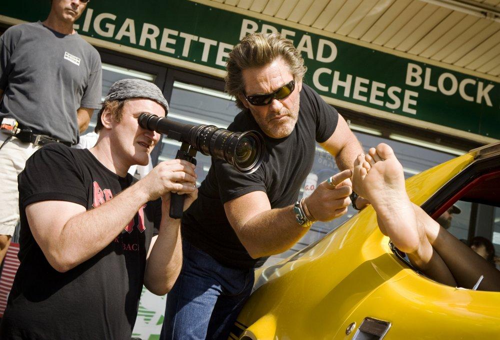 Quentin Tarantino directing Kurt Russell in Death Proof (2007)