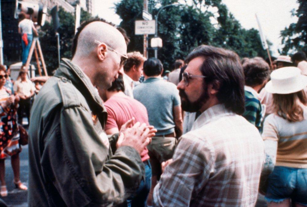Robert De Niro and Martin Scorsese during production of Taxi Driver (1976)