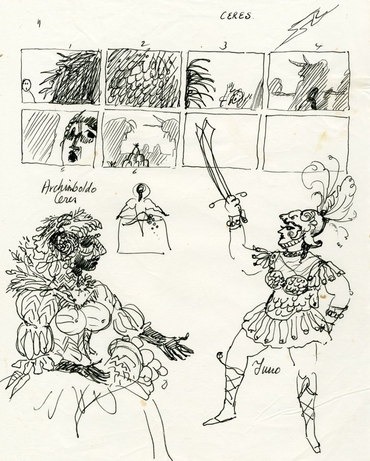 Storyboard and designs for the masque scene in The Tempest (1979)