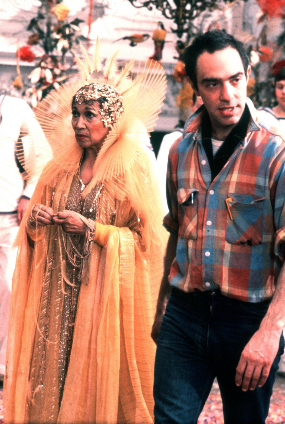 Derek Jarman with actor Elisabeth Welch on the set of The Tempest (1979)