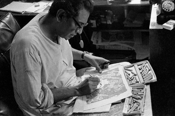 Ray sketches the opening credit sequence for The Fortress (1974)