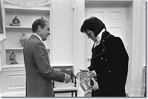 Elvis Presley meets Richard Nixon in the Oval Office, an image used in The King (2018)