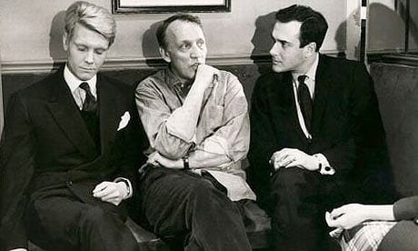 James Fox, Joseph Losey and Harold Pinter on the set of The Servant (1963)