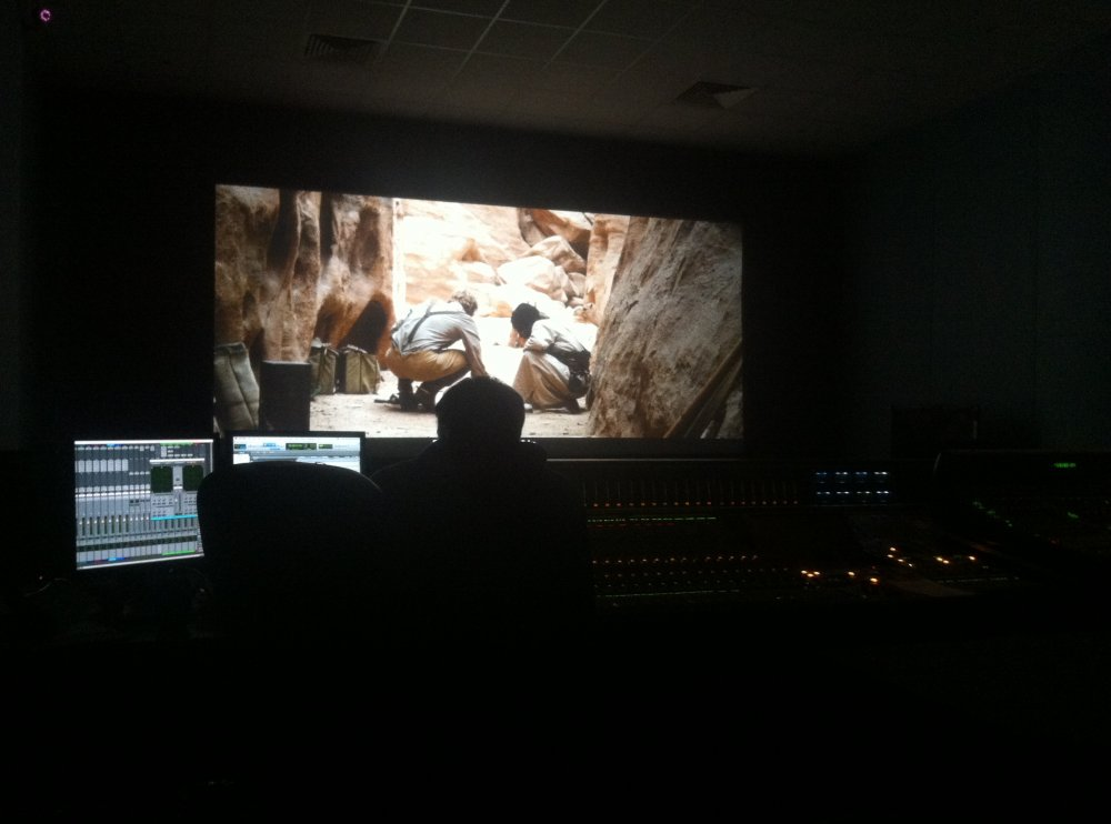 Sound designer Dario Swade in the mix in Technicolor, London