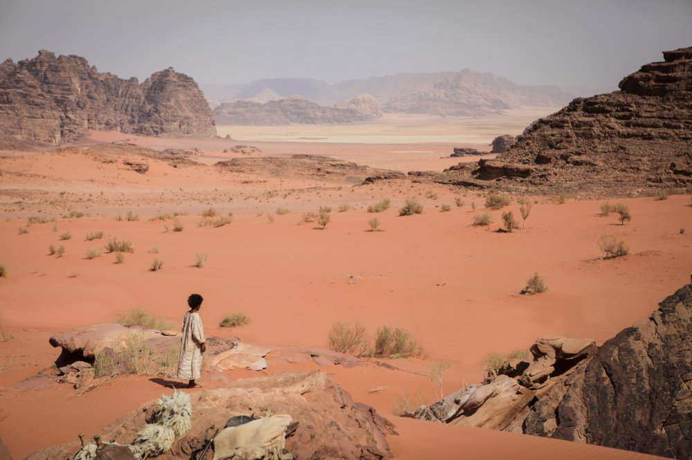 Jacir Eid, who plays the title role of Theeb, stares out into the vastness of the Wadi Rum desert, his home and the film's shooting location