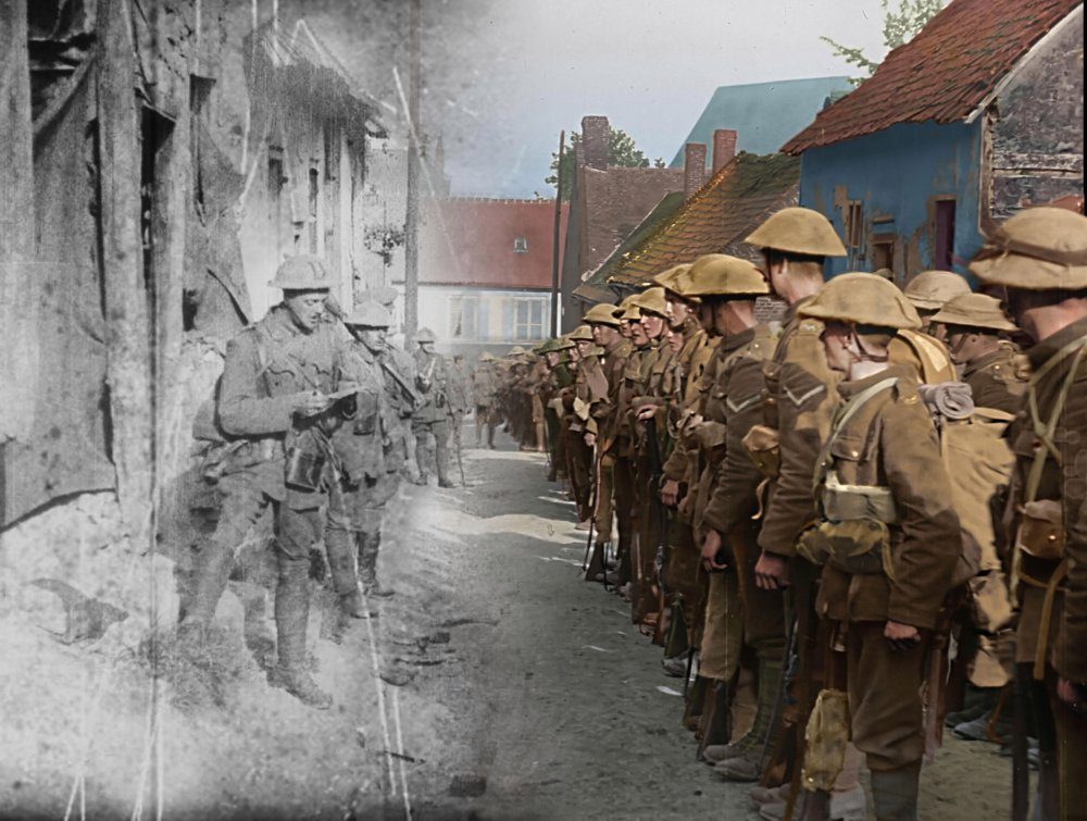 Strange meeting: a frame from They Shall Not Grow Old demonstrating its colourisation effect
