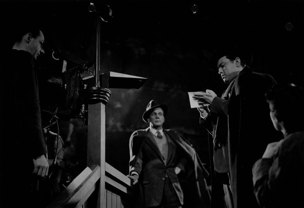 Guy Hamilton (left) on the set of The Third Man (1949) with Joseph Cotten and Orson Welles