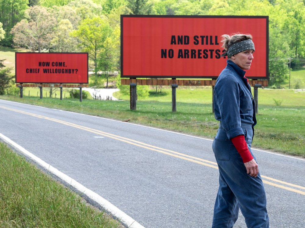 Frances McDormand as grieving mother Mildred Hayes in Martin McDonagh's Three Billboards Outside Ebbing, Missouri