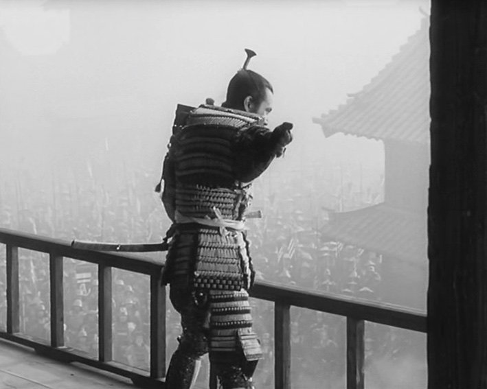 The chilling moment when Washizu realises his wicked deeds have caught up with him. It's a standout shot that's characteristic of Kurosawa's meticulous deployment of a vast array of extras within the castle sets, and his powerful use of staging in depth